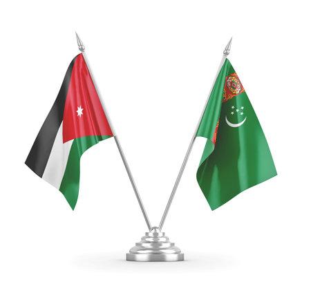 Turkmenistan and Jordan table flags isolated on white 3D rendering Zdjęcie Seryjne