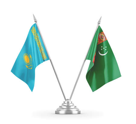 Turkmenistan and Kazakhstan table flags isolated on white 3D rendering Zdjęcie Seryjne