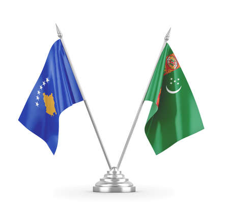 Turkmenistan and Kosovo table flags isolated on white 3D rendering Zdjęcie Seryjne