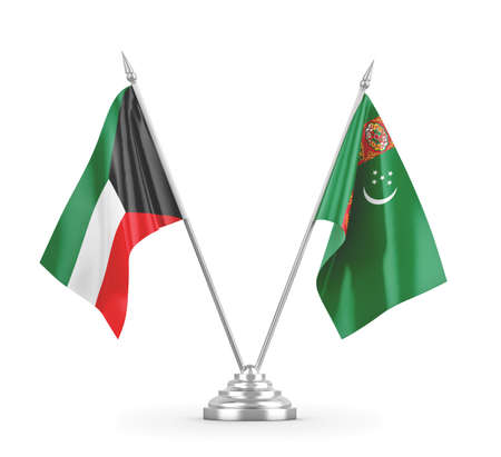 Turkmenistan and Kuwait table flags isolated on white 3D rendering