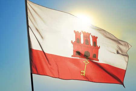 Gibraltar flag waving on the wind Stockfoto