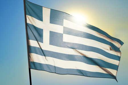 Greece flag waving on the wind Stockfoto