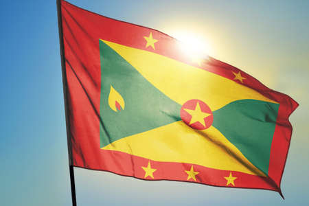 Grenada flag waving on the wind