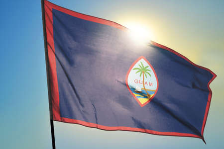 Guam flag waving on the wind Stockfoto