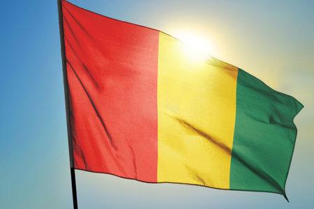 Guinea flag waving on the wind