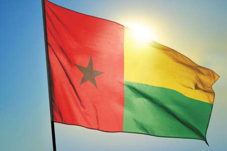 Guinea-Bissau flag waving on the wind Stockfoto