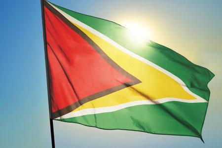 Guyana flag waving on the wind