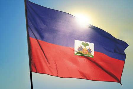 Haiti flag waving on the wind Stockfoto