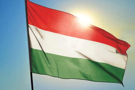 Hungary flag waving on the wind Stockfoto