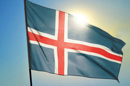 Iceland flag waving on the wind Stockfoto