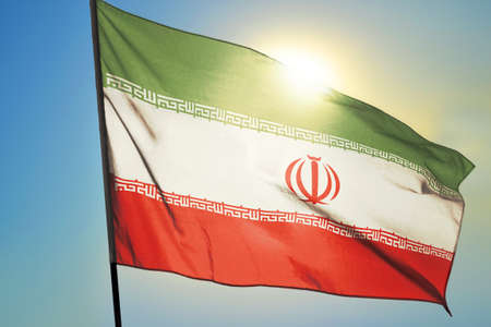 Iran flag waving on the wind
