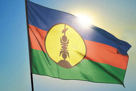 New Caledonia flag waving on the wind in front of sun 免版税图像