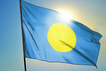 Palau flag waving on the wind in front of sun 免版税图像