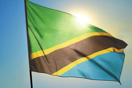 Tanzania flag waving on the wind in front of sun 免版税图像