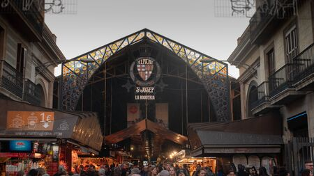 BARCELONA, SPAIN - 25 JANUARY 2019: Entrance La Boqueria market in Barcelona Rambla enter exit