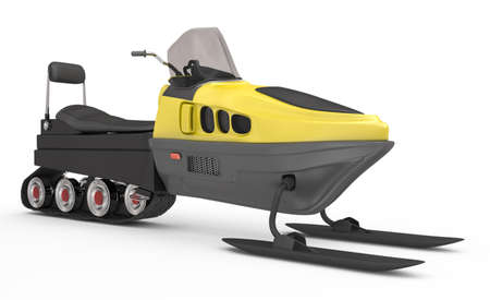 snowmobile on white background. 3d rendered image Stock Photo