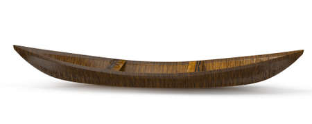 canoe: wooden canoe isolated on white background  3d rendered image Stock Photo