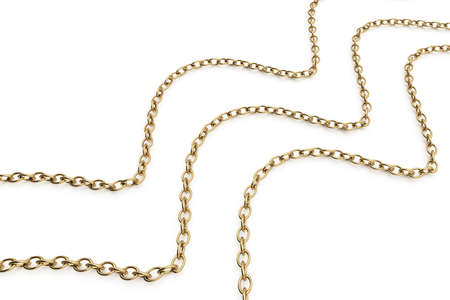 gold chains isolated on white background  3d rendered image Stock Photo