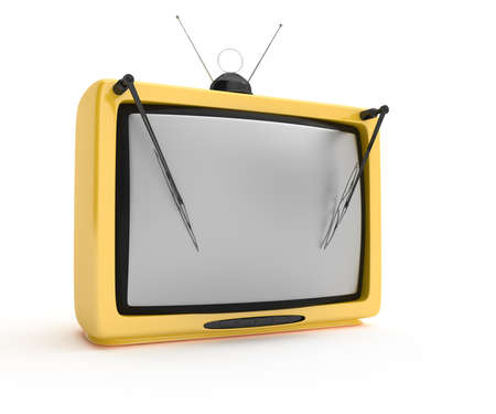 retro tv with wipers isolated on white background  3d rendered image photo