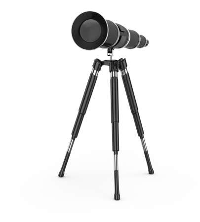 black telescope isolated on white background  3d render photo