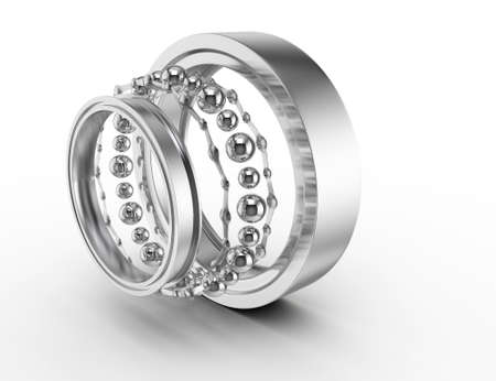 ball bearing parts isolated on white background  3d render Stock Photo - 14932443