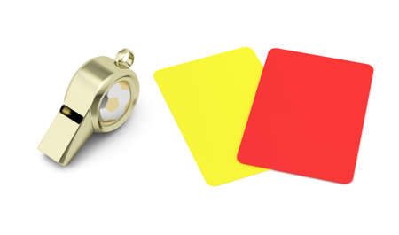 arbitro: silbato y las tarjetas rojas y amarillas aisladas sobre fondo blanco f�tbol arbitraje concepto 3d