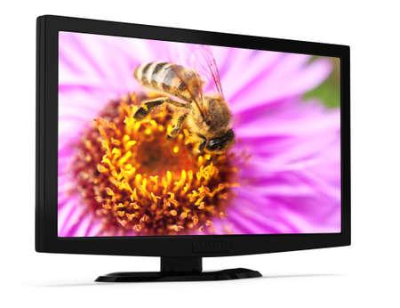 televisor: modern LCD televisor isolated on white background  3d render