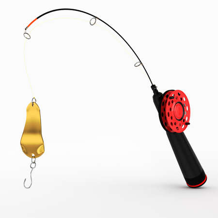 ice fishing rod with spoon on white background  3d render photo
