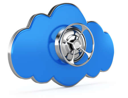 cloud with closed safe door isolated on white background  cloud computing safety icon  3d render photo