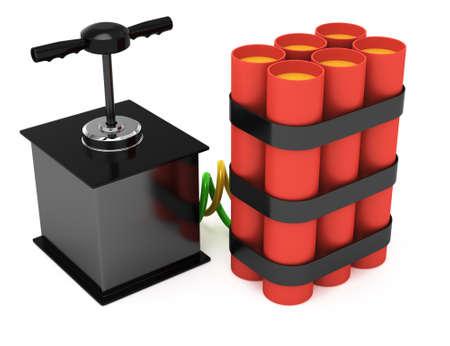 detonator: dynamite with detonator isolated on white background  3d rendered image
