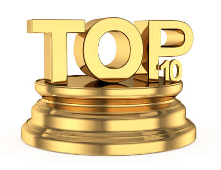 golden top ten icon isolated on white background  3d rendered image Stock Photo
