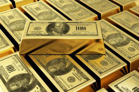 lingotes de oro: barras de oro con marca de dólar 3d imagen representada