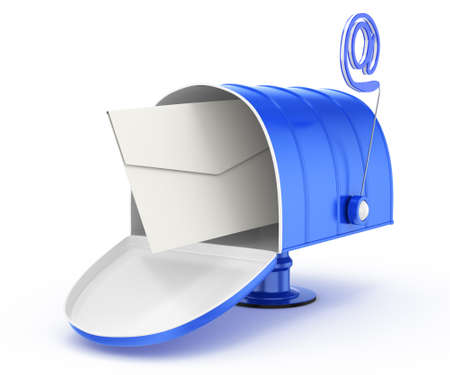 mailbox with email symbol and envelope isolated on white background  3d rendered image