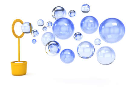 transparence: soap bubbles isolated on white background  3d rendered image