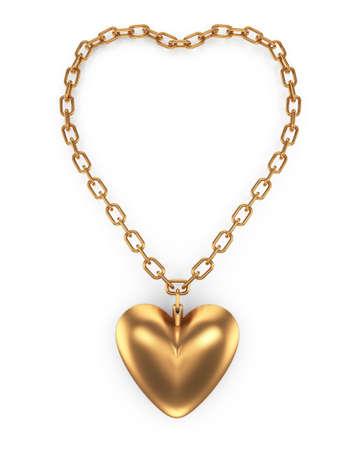 heartshape  pendant isolated on white background  3d rendered image