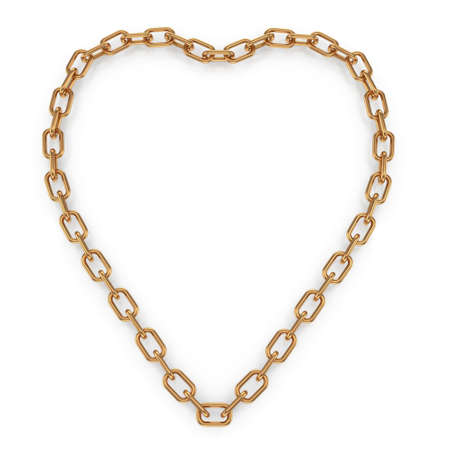 gold chain: heartshape chain isolated on white background  3d rendered image Stock Photo