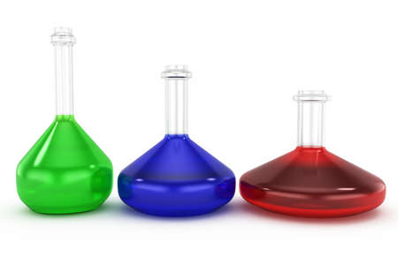 reagents: tubes with reagents isolated on white background  3d chemistry concept Stock Photo