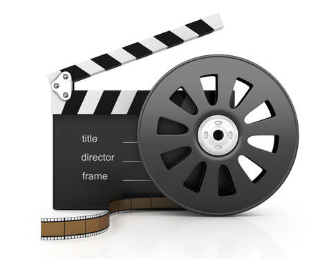 clapper board and filmstrip isolated on white background  3d rendered image photo