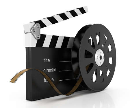 clapperboard and film reel isolated on white background  3d rendered image Stockfoto