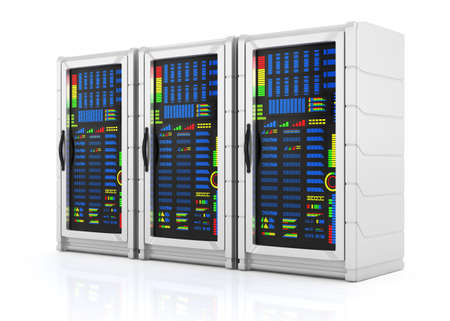 network servers racks isolated on white background  3d rendered image Stock Photo