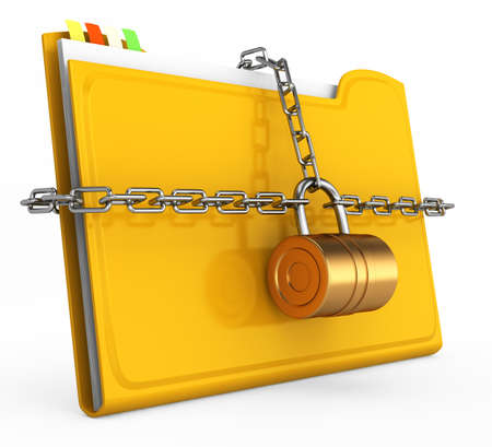 locked folder isolated on white background  document protection concept  3d rendered image photo