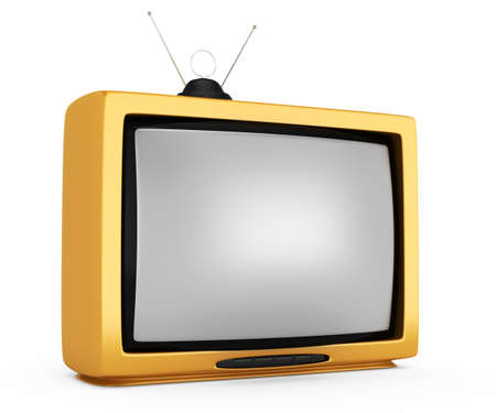 yellow televisor isolated on white background  3d rendered image