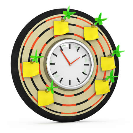 reminder concept: dartboard with clock and sticky notes isolated on white background  3d rendered image  reminder concept