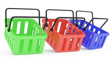 shopping baskets isolated on white  3d rendered image Stock Photo - 17668599