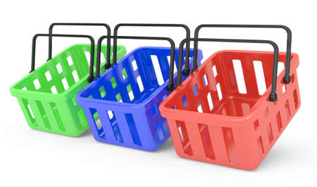 group of shopping baskets isolated on white  3d rendered image Stock Photo - 17819824