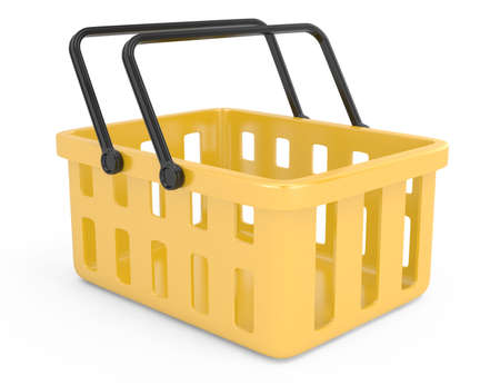 yellow shopping basket isolated on white  3d rendered image Stock Photo - 17819822