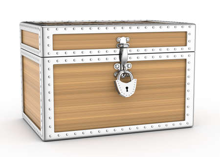 locked wooden chest isolated on white  3d rendered image Stock Photo