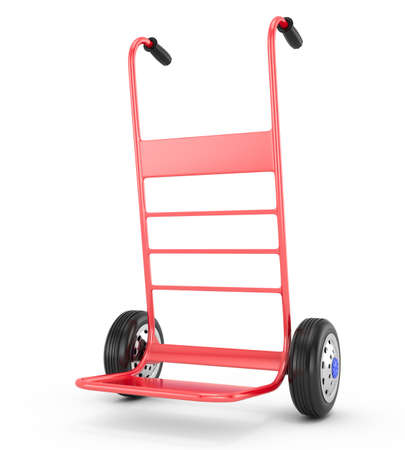 red hand truck isolated on white  3d rendered image Stock Photo - 18004168