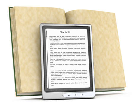 electronic reader and open book isolated on white  3d rendered image photo