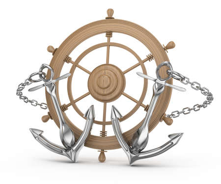 ship wheel and anchors isolated on white  3d rendered image Stock Photo